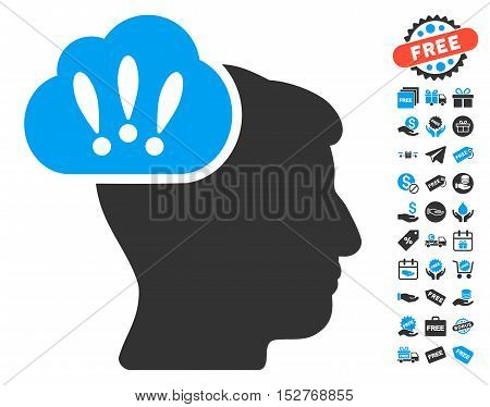 Problem Brainstorm icon with free bonus pictograms. Vector illustration style is flat iconic symbols, blue and gray colors, white background.