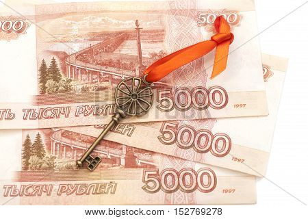 Key To Success With Red Bow on 5000 Russian ruble banknotes