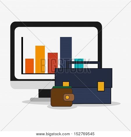 Computer suitcase and wallet icon. Social media and digital marketing theme. Colorful design. Vector illustration