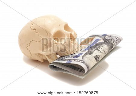 Hundred dollar bill with human skull isolated on white background