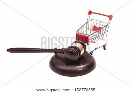 Justice Gavel with Shopping Cart on white background
