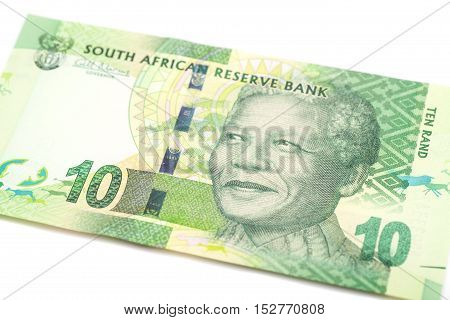 Ten South African Rand isolated on white