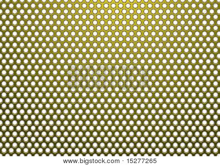 Gold Metal Hintergrund mit Hexagon Weißes Loch in Oberfläche