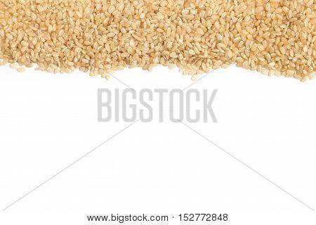 Wholegrains Cateto Rice. Integral Frame on white background