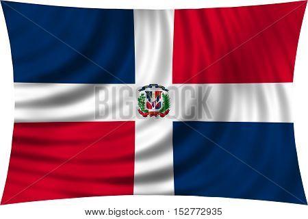 Dominican Republic national official flag. Patriotic symbol banner element background. Correct colors. Flag of Dominican Republic waving isolated on white 3d illustration