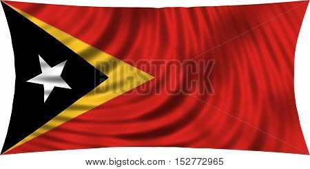 East Timorese national official flag. Patriotic symbol banner element background. Correct colors. Flag of East Timor waving isolated on white 3d illustration