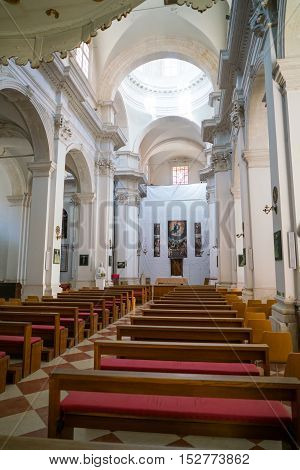 Dubrovnik, Croatia - July 19, 2016: Assumption of the Virgin Mary Cathedral interior