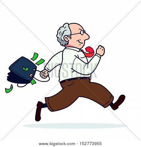 Illustration of a cartoon man running with money