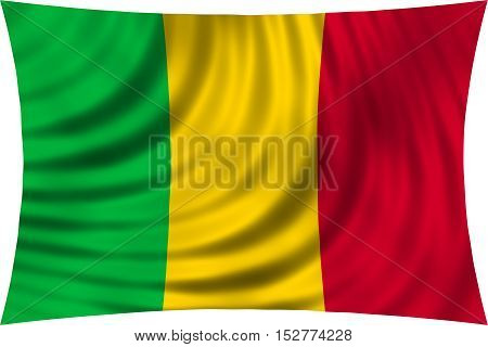 Malian national official flag. African patriotic symbol banner element background. Correct colors. Flag of Mali waving isolated on white 3d illustration