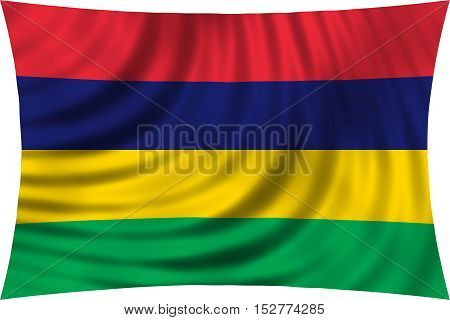 Mauritian national official flag. African patriotic symbol banner element background. Correct colors. Flag of Mauritius waving isolated on white 3d illustration