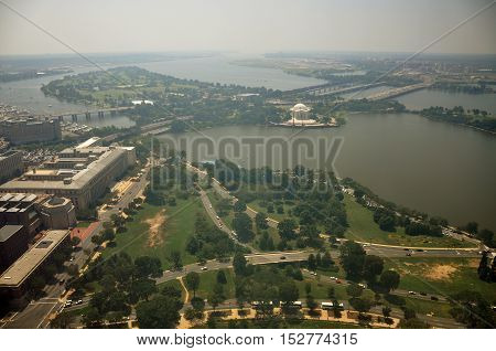 Aerial View of the Jefferson Memorial and Tidal Basin, from Washington Monument in Washington DC, USA