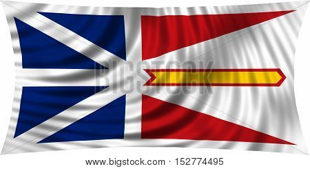 Canadian provincial NL patriotic element and official symbol. Canada banner and background. Correct colors. Flag of the Canadian province of Newfoundland and Labrador waving on white 3d illustration poster
