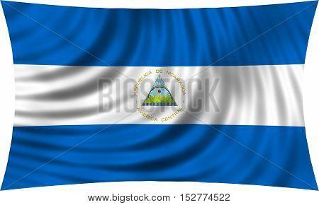 Nicaraguan national official flag. Patriotic symbol banner element background. Correct colors. Flag of Nicaragua waving isolated on white 3d illustration