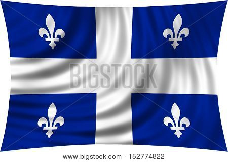 Canadian provincial flag QC patriotic element and official symbol. Canada Quebec banner and background. Correct colors. Flag of the Canadian province of Quebec wavy isolated on white 3d illustration