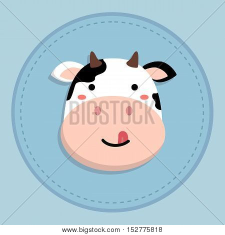 cute cow cartoon sticking tongue out on blue circle background vector illustration