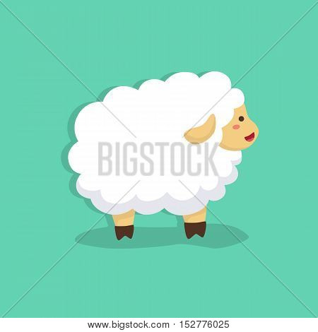 cute sheep facing side on tosca green background vector illustration