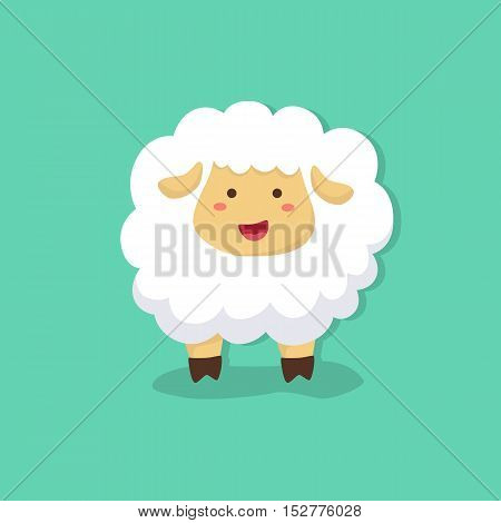 Cute sheep facing front on tosca green background vector illustration