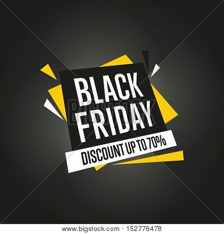 Black Friday sale black sticker vector isolated. Discount or special offer price sign on Black Friday. Sale banner. Promo offer on black friday. Special offer sale sticker. Discount tag.