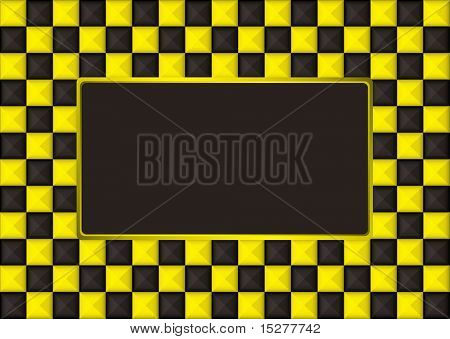checkered gold and black picture frame with blank center