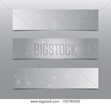 Horizontal set of paper Grey rectangle banners template for business design, infographics. Vector illustration eps10. Snow, blizzard, winter.
