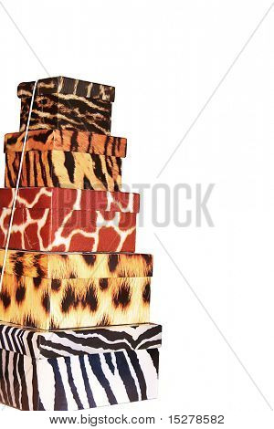 Stack of gift boxes in animal prints.