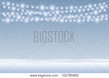 Vector white snow falling on blue background. Garlands on a background of falling snow.