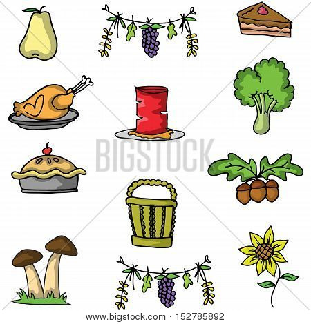 Doodle of thanksgiving collection stock vector illustration