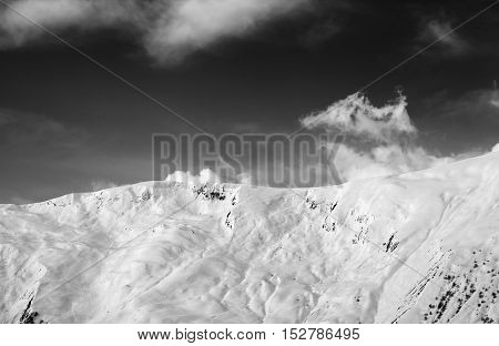 View On Snowy Off-piste Slope
