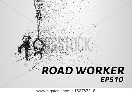 Road worker of the particles. Road worker puts a curb.