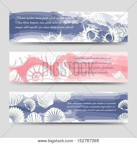 Ocean banners template with sea shells and watercolor elements vector