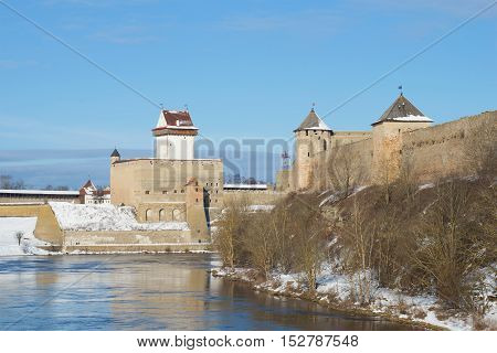 The old Herman's Castle and Ivangorod Fortress, sunny march day. The border between Estonia and Russia