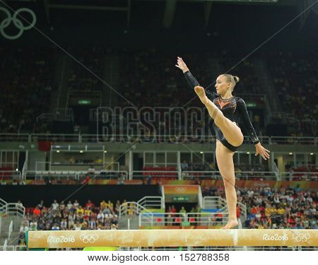 RIO DE JANEIRO, BRAZIL - AUGUST 15, 2016:Olympic champion Sanne Wevers  of Netherlands competes at the final on the balance beam women's artistic gymnastics at Rio 2016 Olympic Games