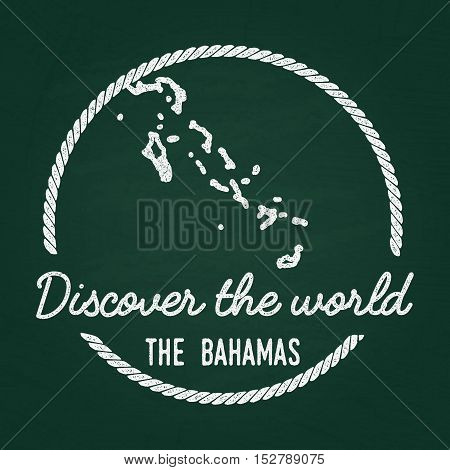 White Chalk Texture Hipster Insignia With Commonwealth Of The Bahamas Map On A Green Blackboard. Gru