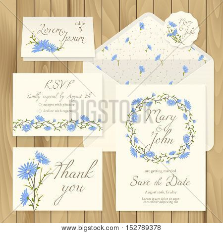 Vector set of vintage floral wedding invitation templates - card response, save the date, thank you, table number, label with blue flowers and envelope (pattern completely under the mask).