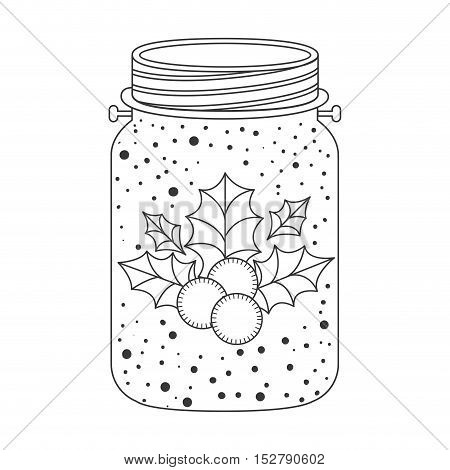 mason jar with holly berry christmas decoration inside. Sketch and draw design. vector illustration
