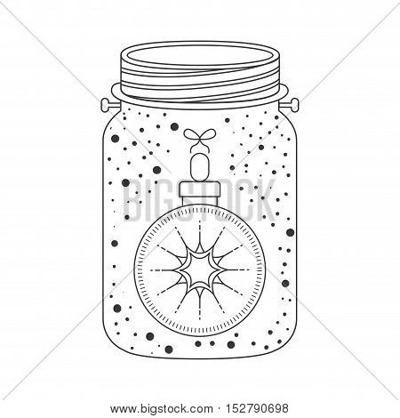 mason jar with christmas ball decoration inside. Sketch and draw design. vector illustration