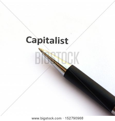 Capitalist with pen isolated on white background.
