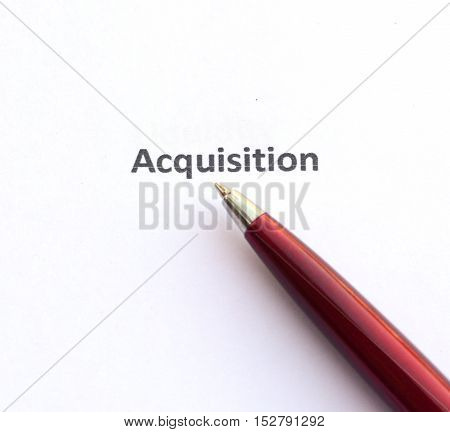 Acquisition with pen isolated on white background.