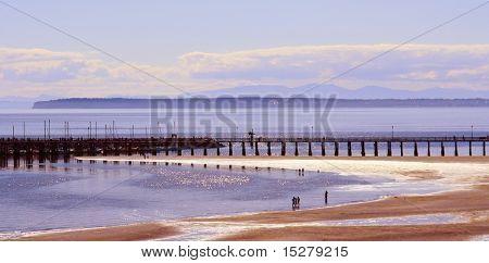 Summer beach and pier scene, Canada.
