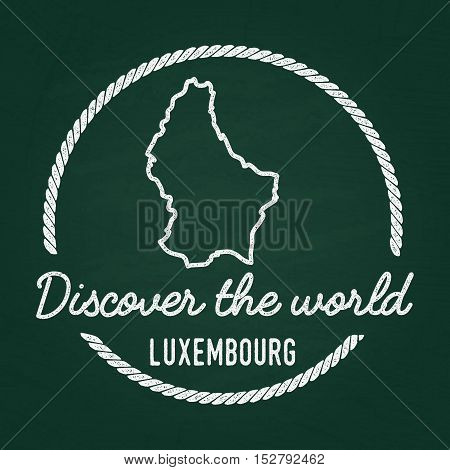 White Chalk Texture Hipster Insignia With Grand Duchy Of Luxembourg Map On A Green Blackboard. Grung