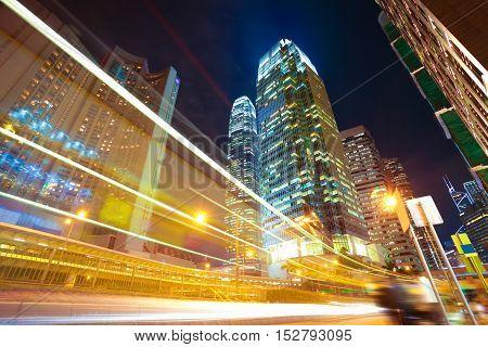 Hongkong Of Modern Landmark Buildings Backgrounds Road Light Trails