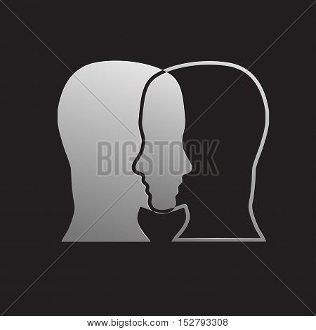 Vector sign dual personality, two heads in balck