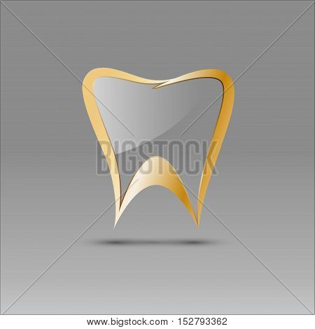 Vector sign tooth in glass and gold
