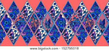 Ethnic patchwork pattern from ornamental rhombuses with flowers, butterfly and paisley. Vector illustration.