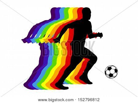 colored man silhouette playin football, vector illustration