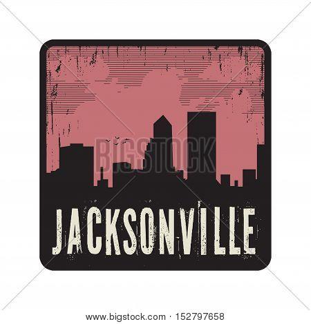Grunge vintage stamp with text Jacksonville vector illustration