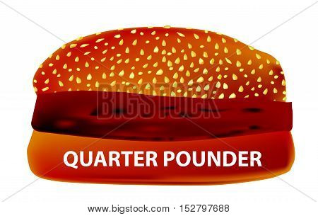 A large Quarter Pounder Burger in a sesame bun.