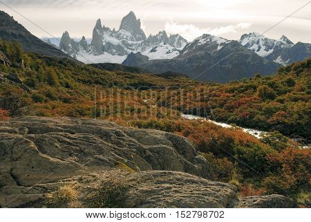 Mountain scenery in autumn colors, fitz roy massif sunset