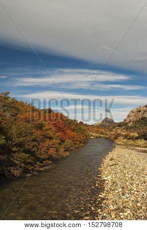 River landscape in beautiful autumn colors, Los Glaciares National Park