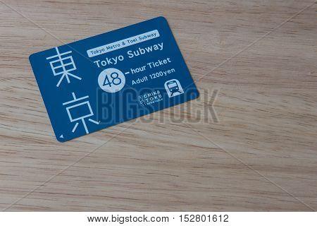TOKYO, JAPAN - OCTOBER 11 ,2016 :  Tokyo metro,Toei subway,Tokyo subway 48 hour ticket  , Tokyo, Japan. October 11 2016.  Popular Japanese subway rail convenient time.